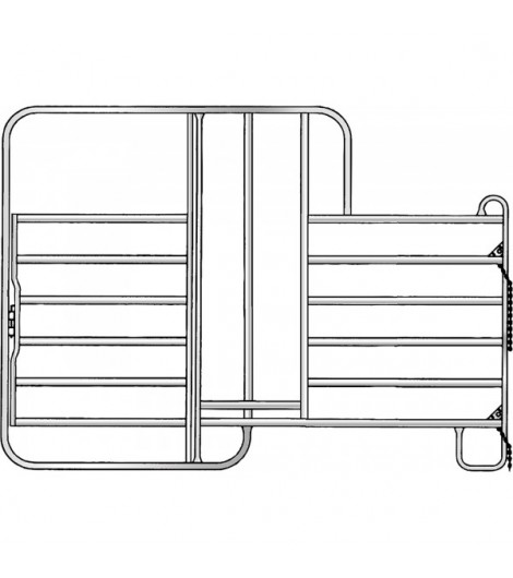 Panel-6 mit Tor und Fressgitter 3,00 m, 1 Fressplatz Breite 3,00 m, Höhe 2,20 m