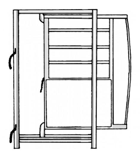 Rahmen mit Schiebetüre, Breite 0,90 m, Höhe 1,95 m, vz