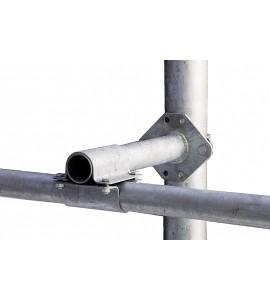 Abstandhalter für Nackenrohr an Pfostenmit d:102 mm, inkl. 2 Bügelschraubenund stabiler Kreuzklemme 60 x 60 mm
