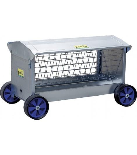 Heuraufe mit Rädern, L: 1,25 mmit Dach, für Lämmer und Schafe