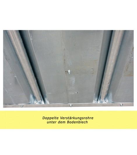 Profi-Viereckraufe mit Sicherheits-Fangfressgitter + Dach 2,00 x 2,05 m