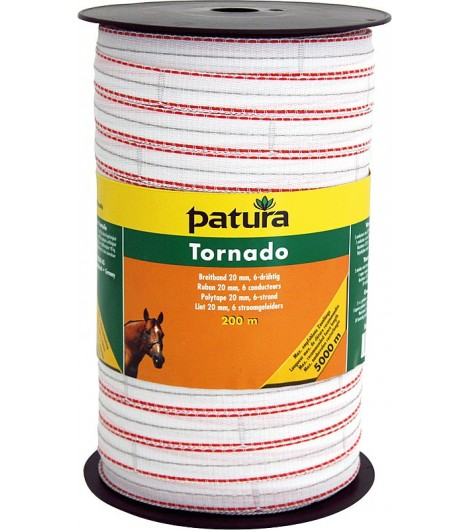 Tornado Breitband 20 mm, 200 m Rolle 5 Niro 0,20mm, 1 Cu 0,30mm, weiss-orange