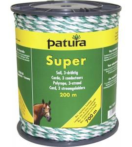 Super Seil, 200 m Rolle 3 Niro 0,40mm, weiss-grün