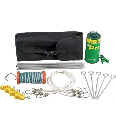 Wanderreiterset, Packtasche mit P 30-Gerät, Alu-Pfählen, 40 m Band, Torgriff, Abspannmaterial