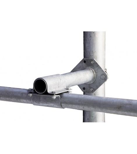 Abstandhalter für Nackenrohr, für Pfosten 90 x 90, inkl. 2 Bügelschrauben und stabiler Kreuzklemme 60 x 60 mm